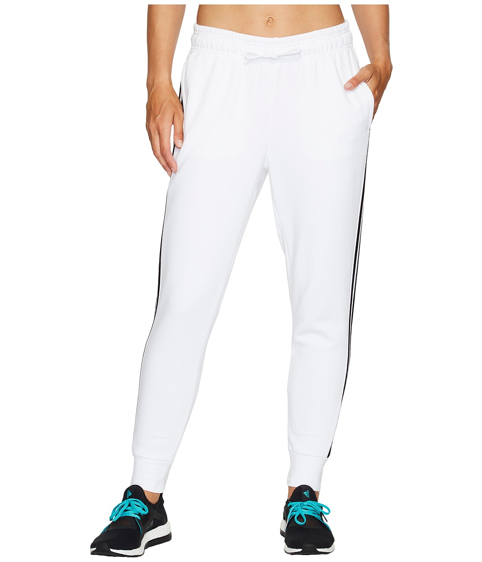 adidas - Essentials Cotton Fleece 3S Jogger (White/Black) Women's Casual Pants