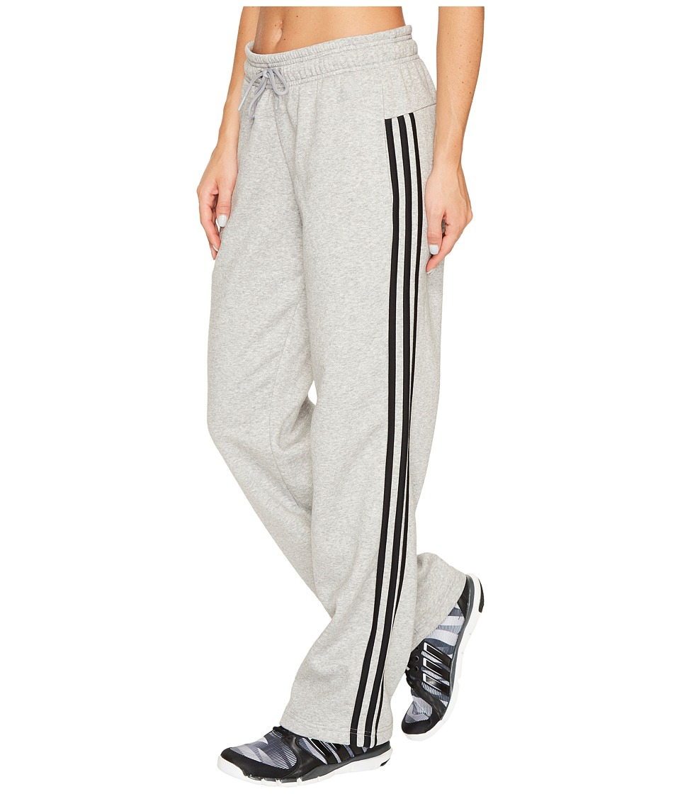 adidas - Essentials Cotton Fleece 3S Open Hem Pants (Medium Grey Heather/Black) Women's Casual Pants