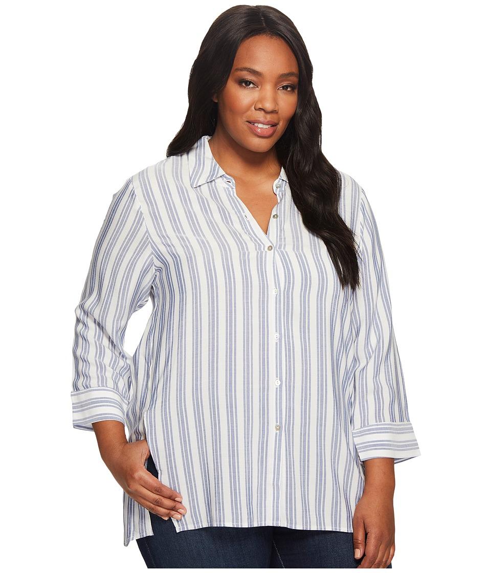 B Collection by Bobeau Plus Size Button Front Shirt (Stripe) Women