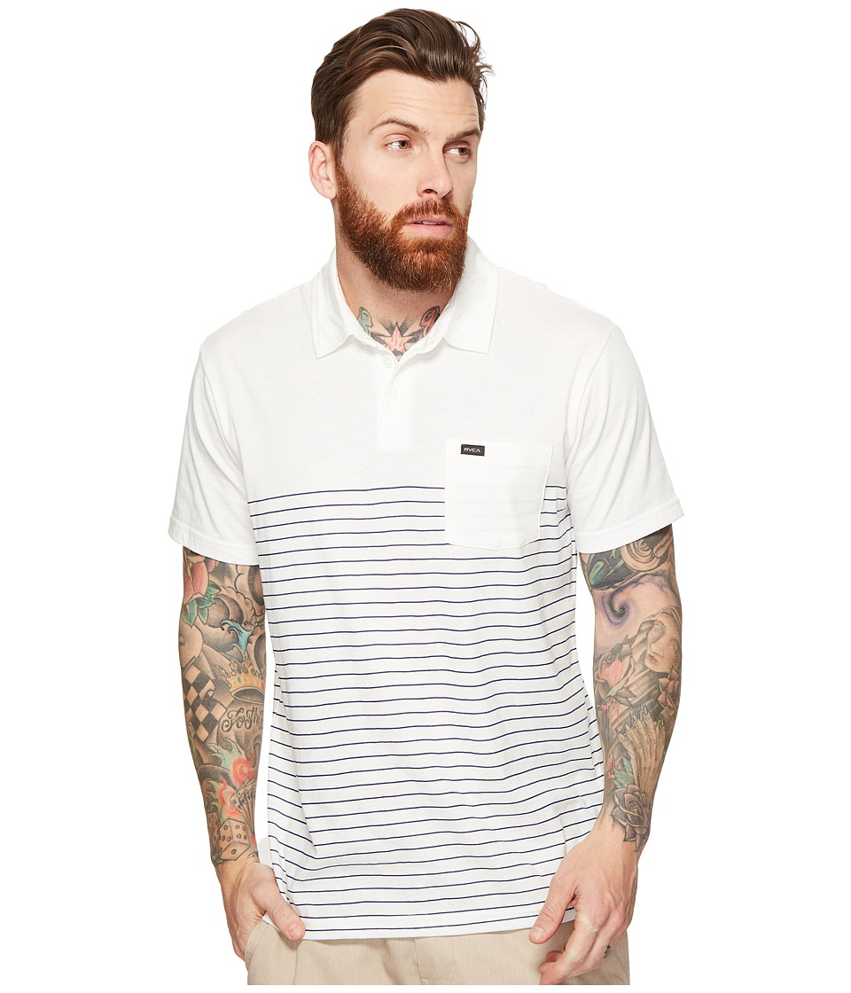 RVCA - Sure Thing Stripe Polo (Antique White) Men's Clothing