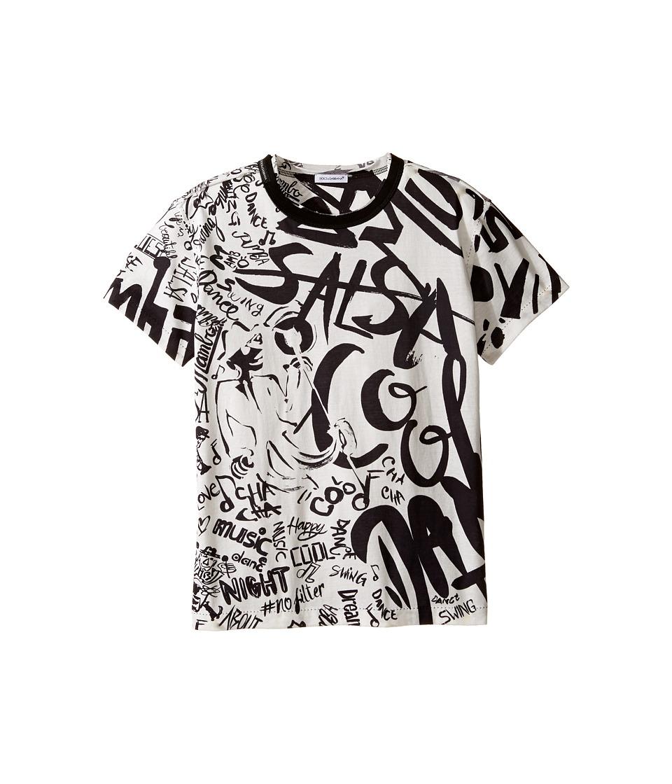 Dolce & Gabbana Kids - Salsa Tee (Big Kids) (White Print) Boy's T Shirt