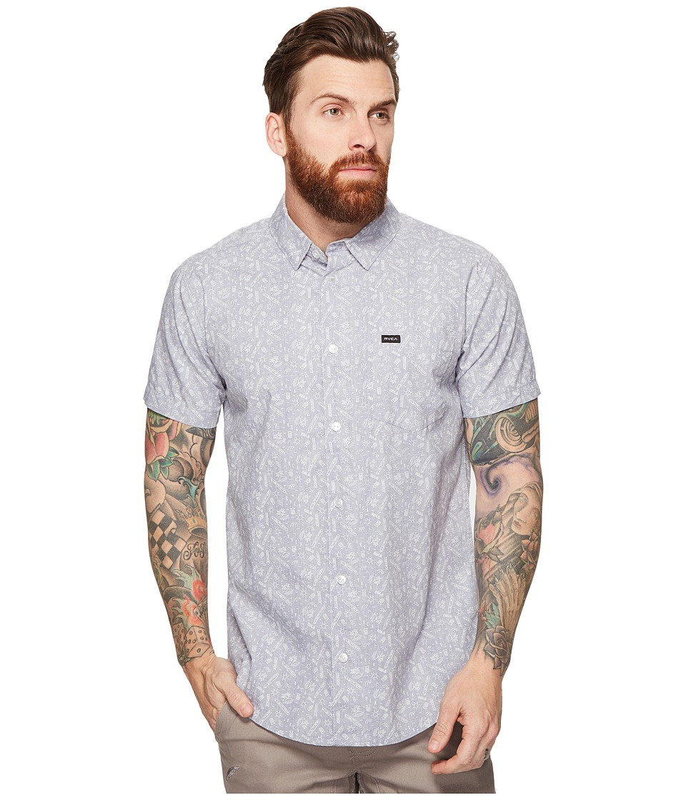 RVCA - Sea and Destroy Short Sleeve Woven (Smoke Purple) Men's Clothing