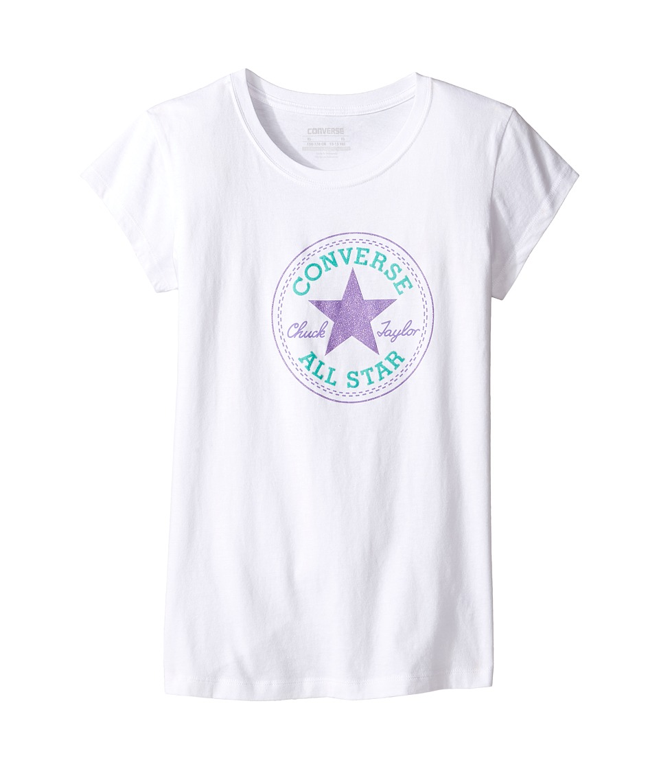 Converse Kids - Short Sleeve All Star Tee (Big Kids) (Converse White/Frozen Lilac) Girl's T Shirt