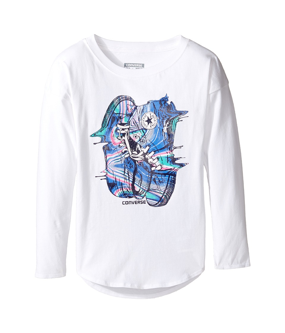 Converse Kids - Drip Drop Shoulder Tee (Toddler/Little Kids) (White) Girl's T Shirt