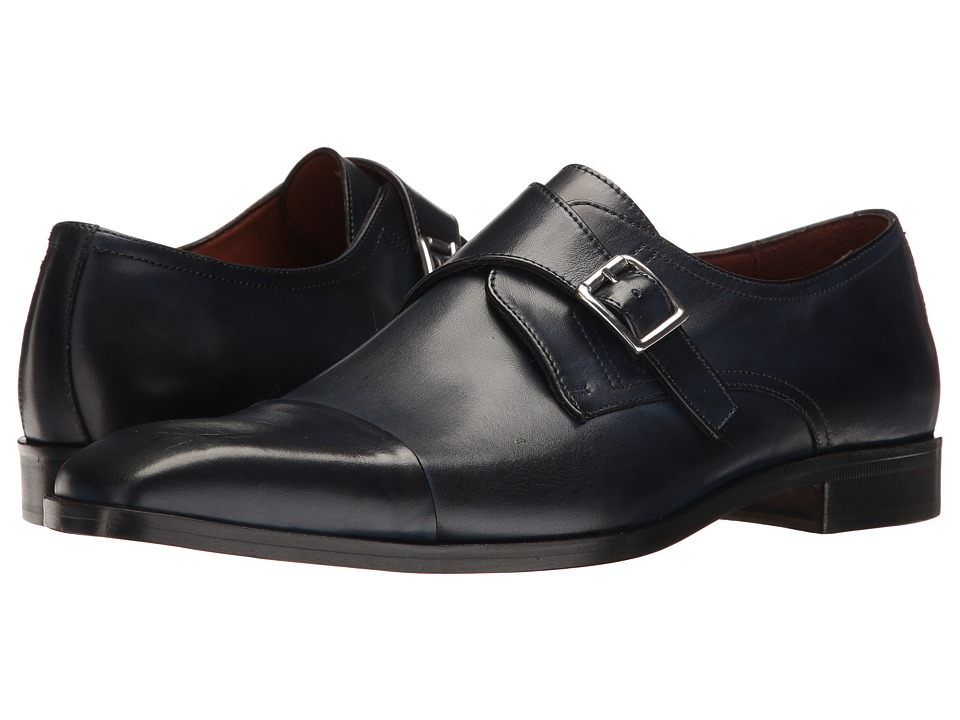 Massimo Matteo - Single Monk Cap Toe (Navy) Men's Shoes