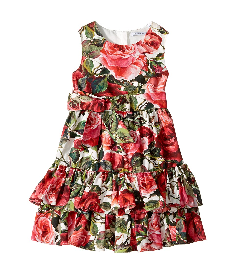 Dolce & Gabbana Kids - Floral Poplin Dress (Toddler/Little Kids) (Rose Print) Girl's Dress