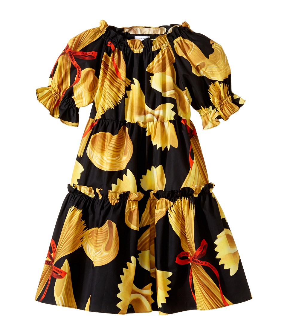 Dolce & Gabbana Kids - Pasta Poplin Dress (Toddler/Little Kids) (Black Print) Girl's Dress