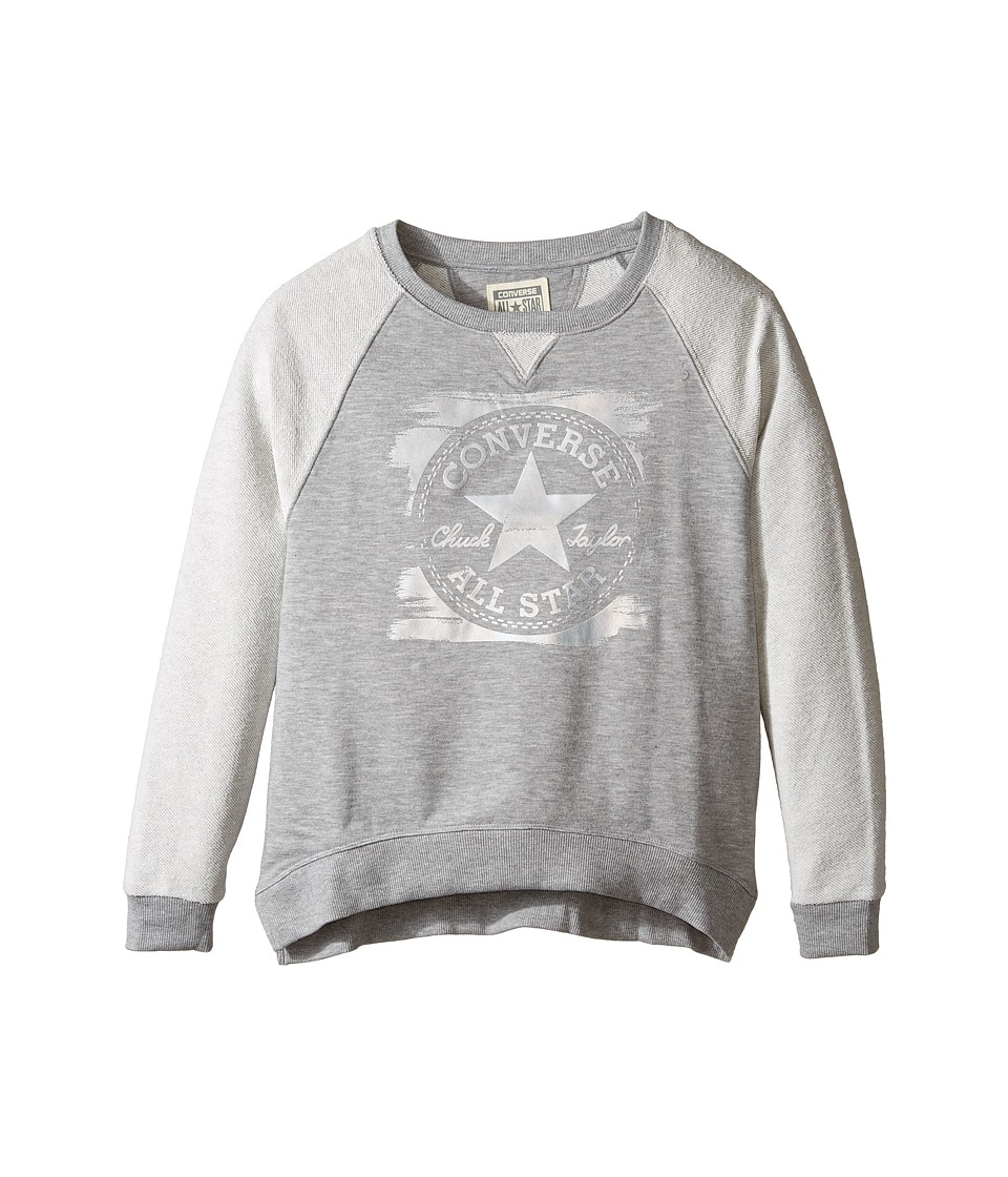 Converse Kids - Foil Printed Raglan Crew (Big Kids) (Vintage Grey Heather) Girl's Clothing