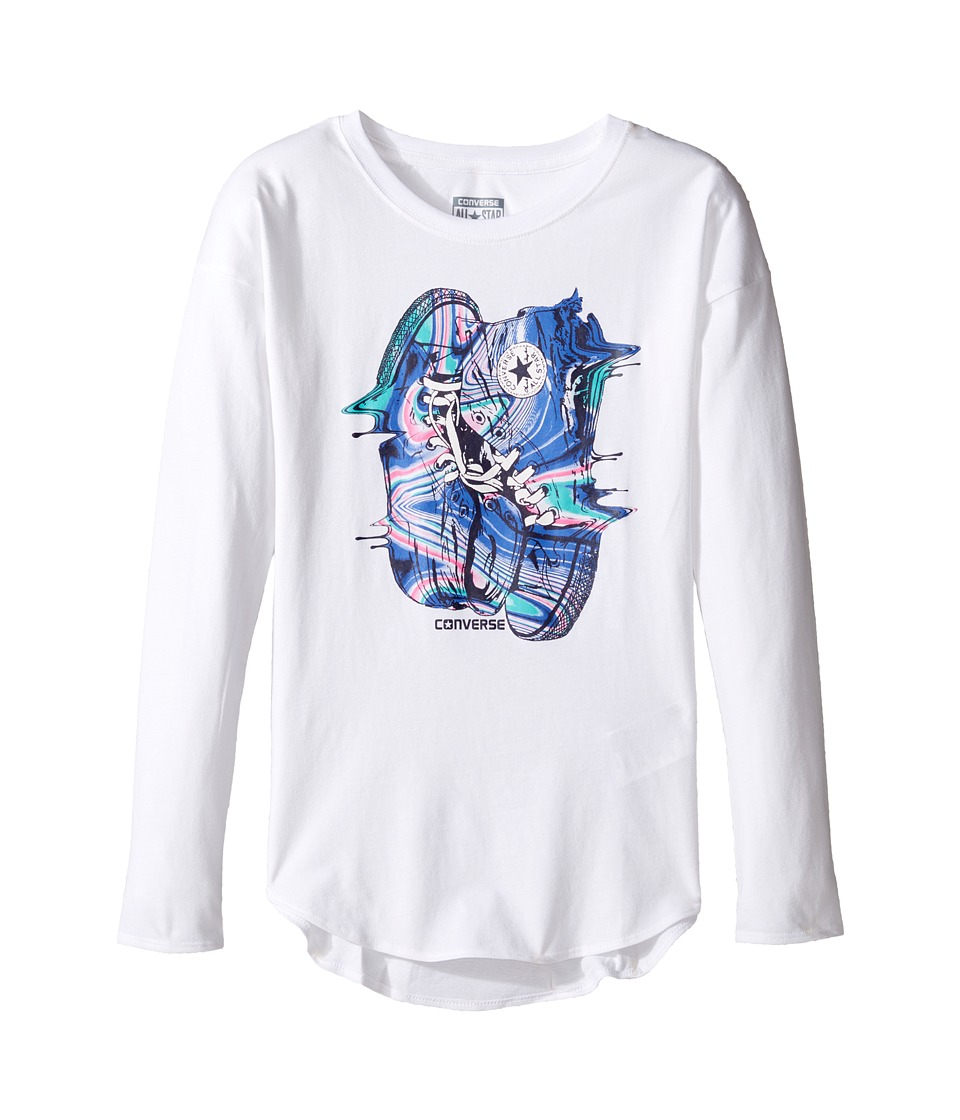 Converse Kids - Drip Drop Shoulder Tee (Big Kids) (White) Girl's T Shirt