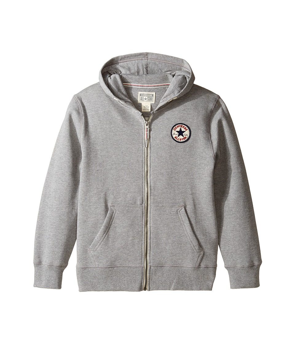 Converse Kids - Core Zip Hoodie (Big Kids) (Vintage Grey Heather) Boy's Sweatshirt