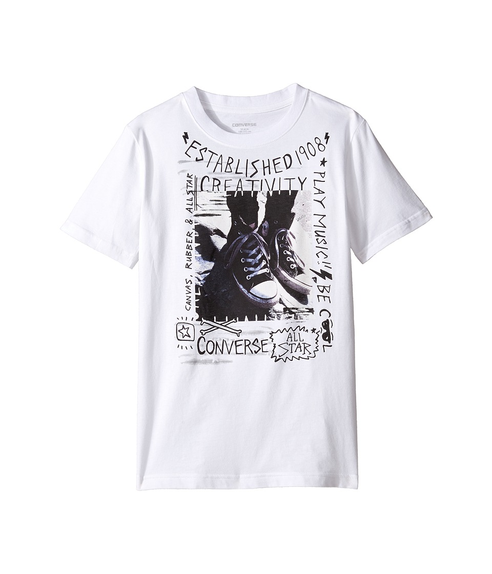 Converse Kids - Doodle Photo Chucks Tee (Big Kids) (White) Boy's T Shirt
