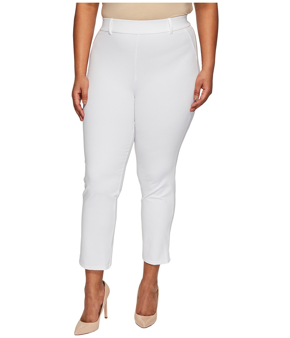 HUE - Plus Size Little Black Cropped Treggings (White) Women's Casual Pants