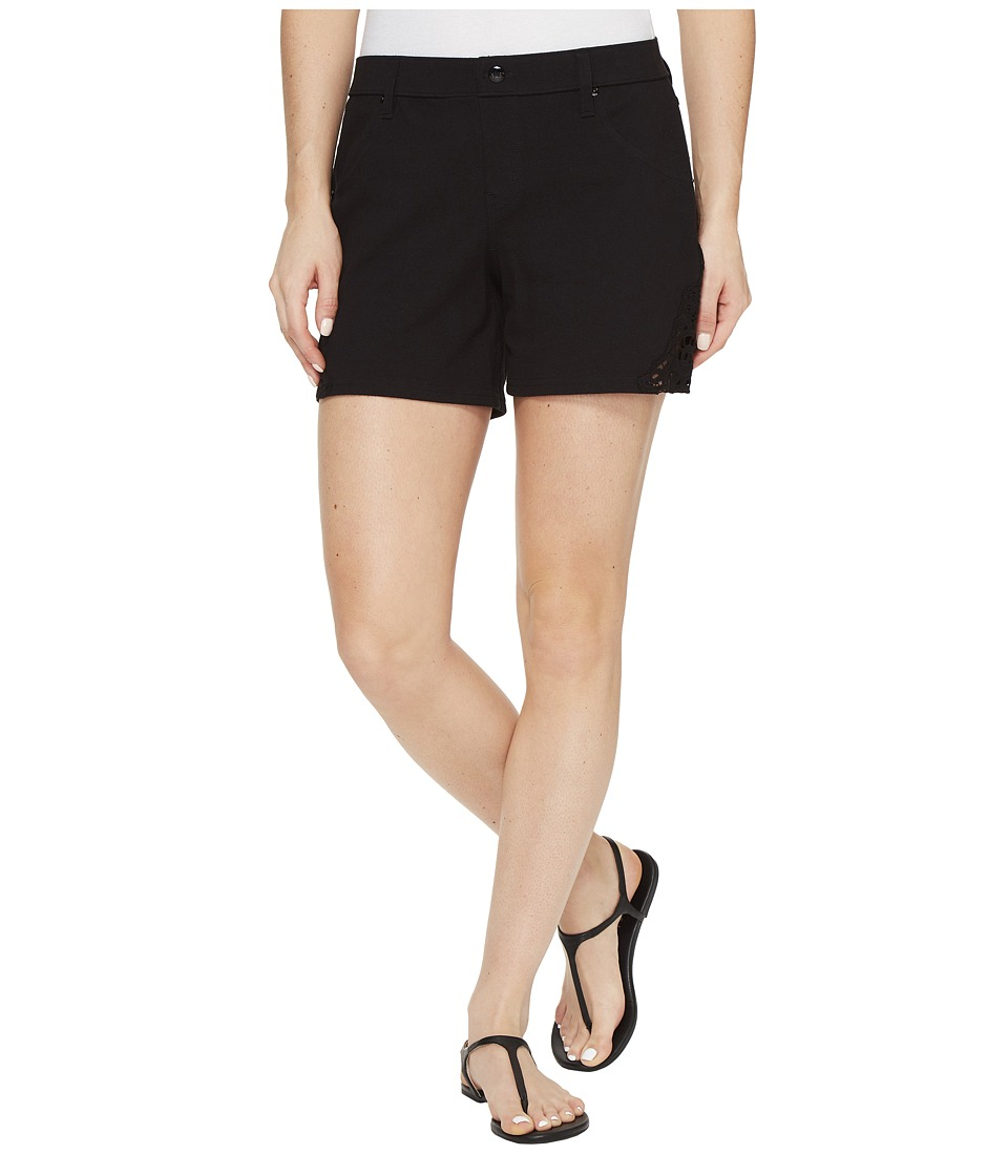 HUE - Lace Trim Pique Shorts (Black) Women's Shorts
