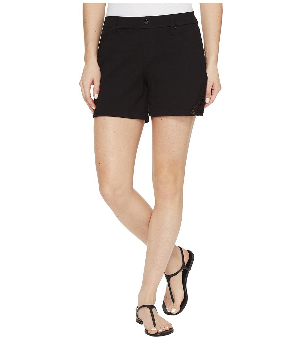 HUE - Lace Trim Pique Shorts (Black) Women's Shorts