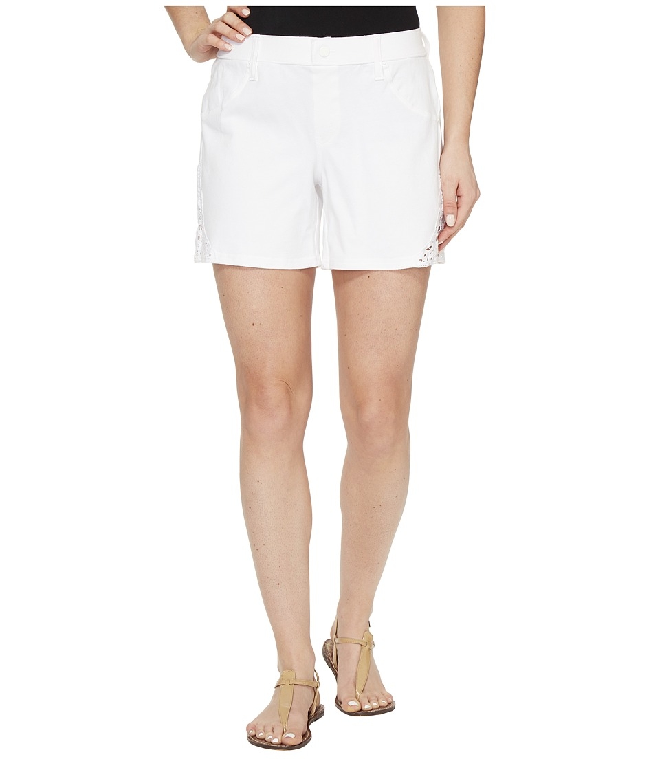 HUE - Lace Trim Pique Shorts (White) Women's Shorts