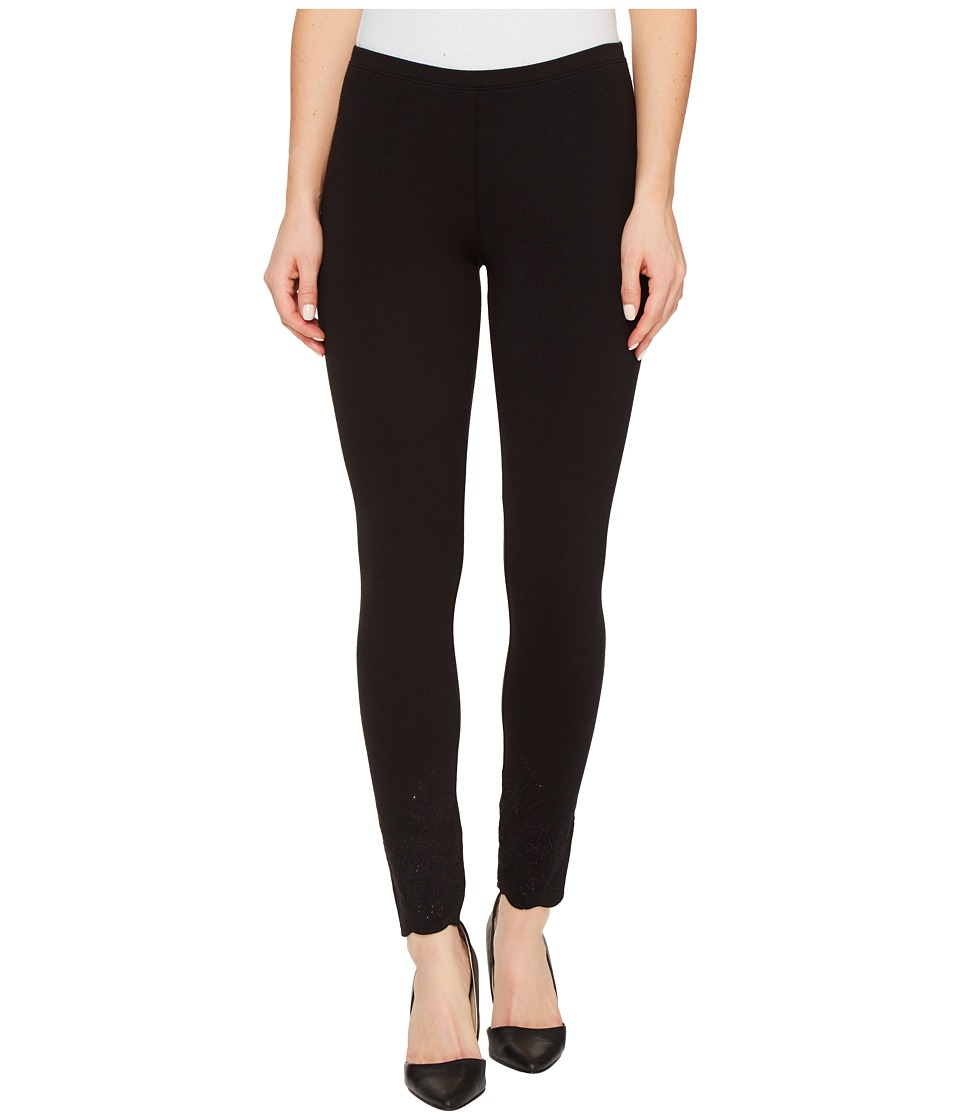 HUE - Embroidered Floral Hem Cotton Skimmer (Black) Women's Casual Pants