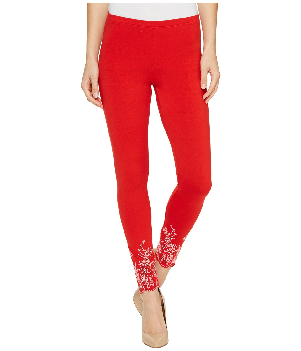 HUE - Embroidered Floral Hem Cotton Skimmer (Red Alert) Women's Casual Pants