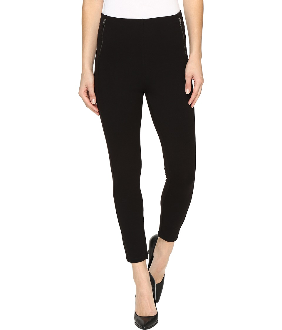 HUE - Temp Control Wide Waistband Zippered Ultra Cotton Skimmer (Black) Women's Casual Pants