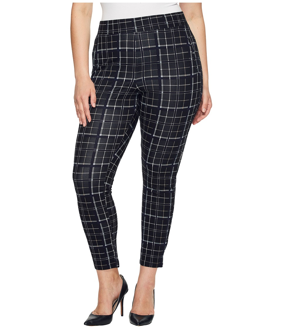 HUE - Plus Size Summer Plaid Loafer Skimmer (Black) Women's Casual Pants