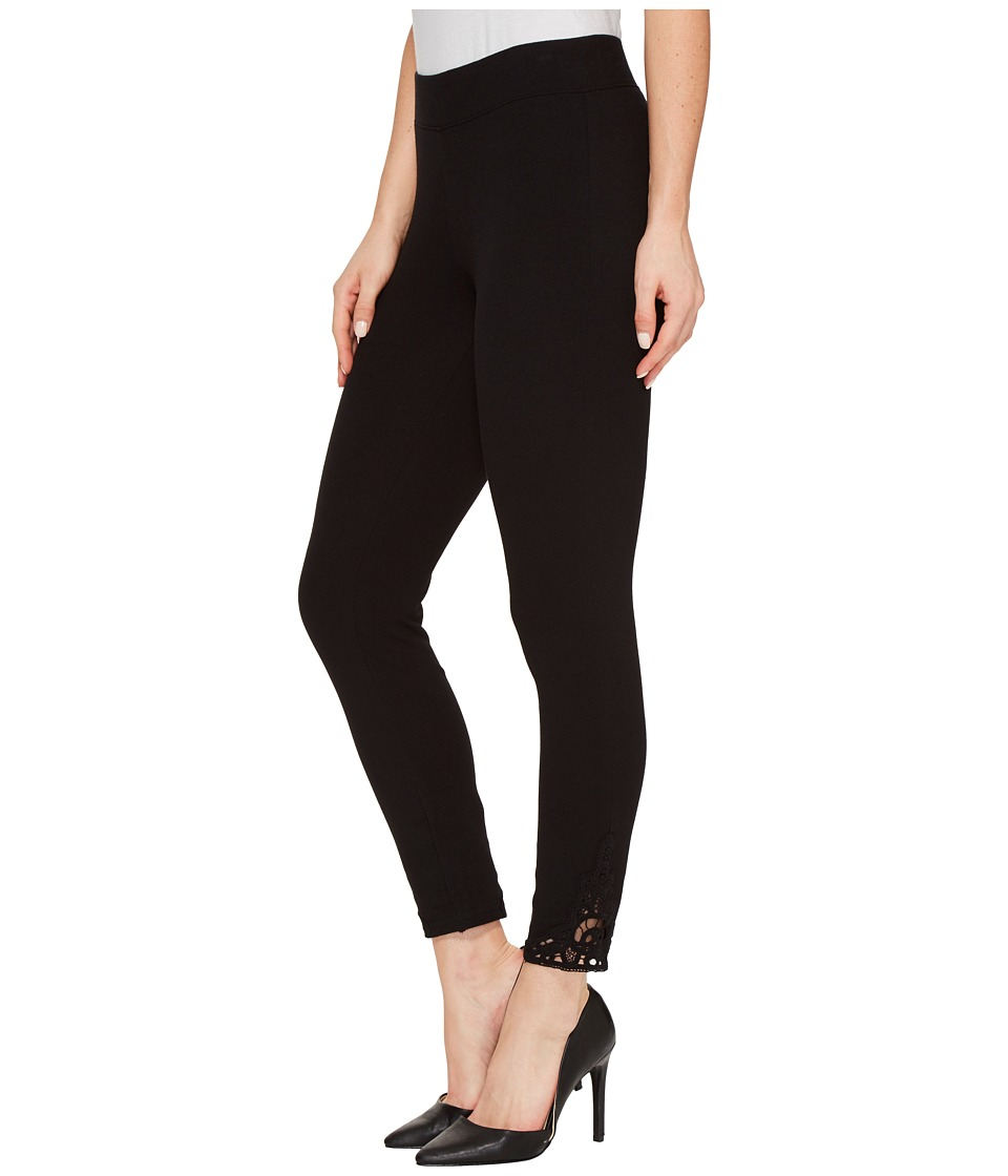 HUE - Wide Waistband Lace Trim Pique Capris (Black) Women's Capri
