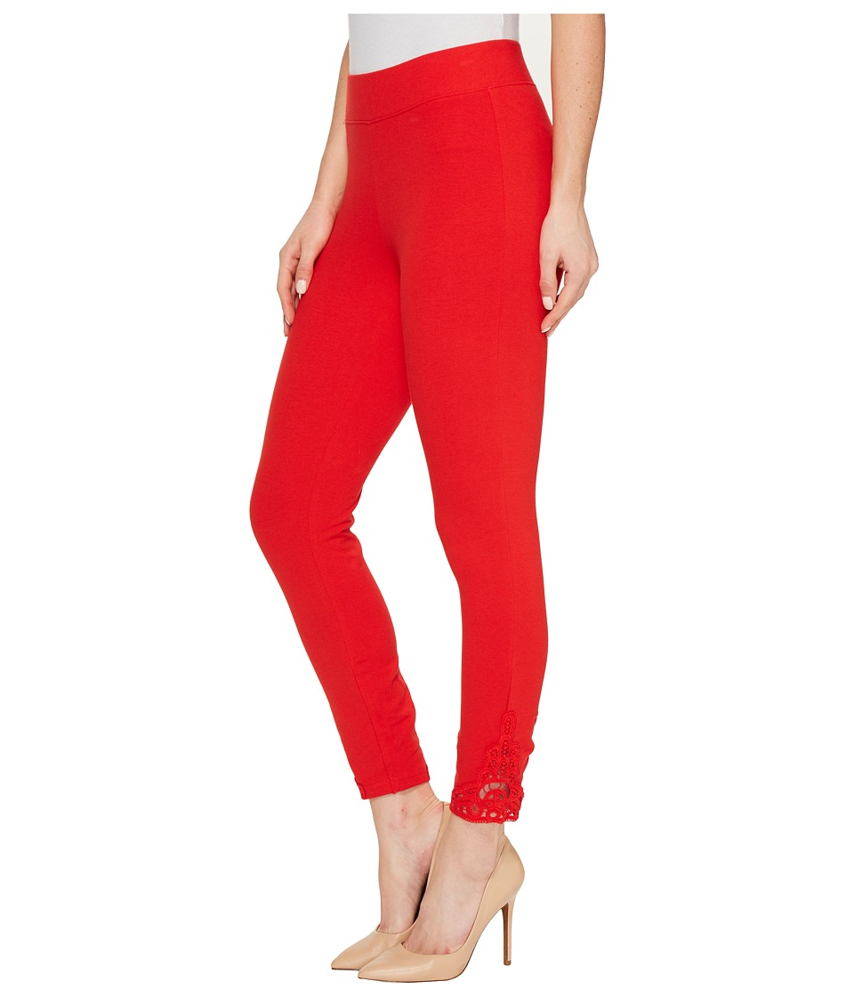 HUE Wide Waistband Lace Trim Pique Capris (Red Alert) Women