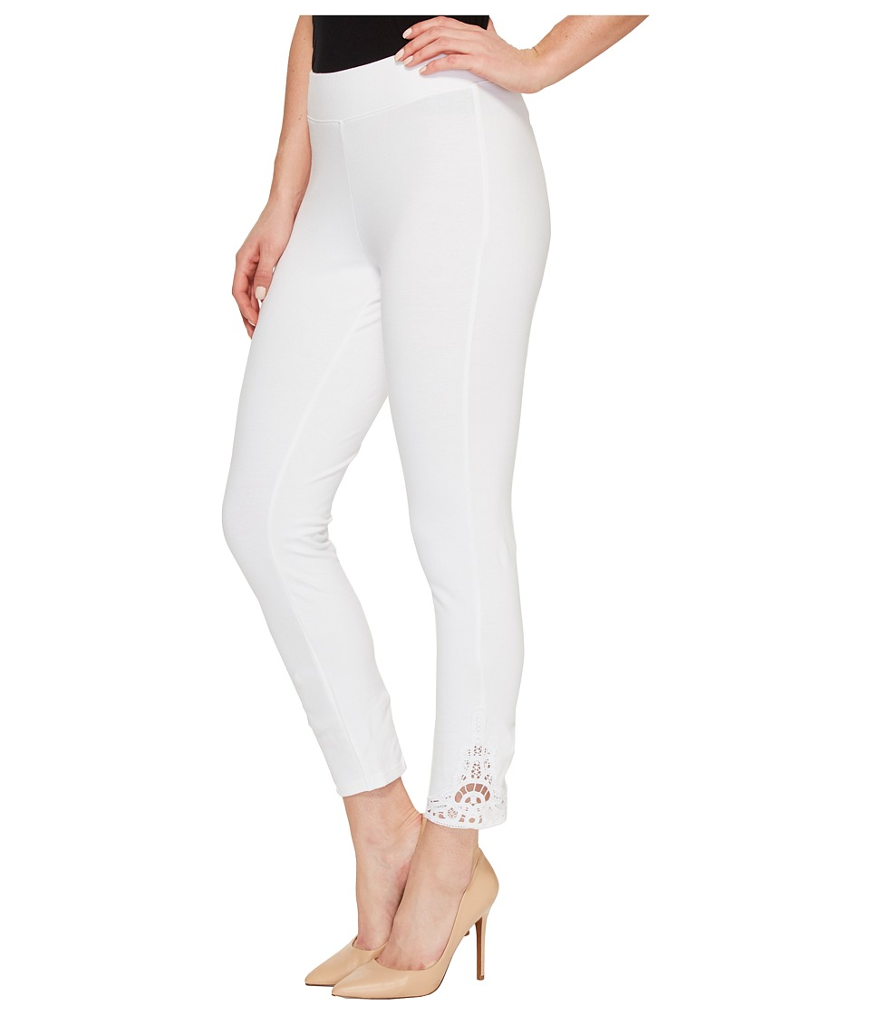HUE - Wide Waistband Lace Trim Pique Capris (White) Women's Capri