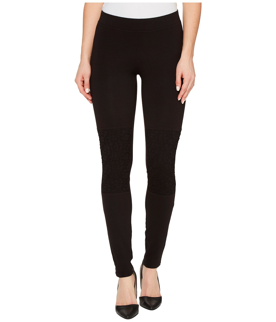 HUE - Lace Knee Cotton Leggings (Black) Women's Casual Pants