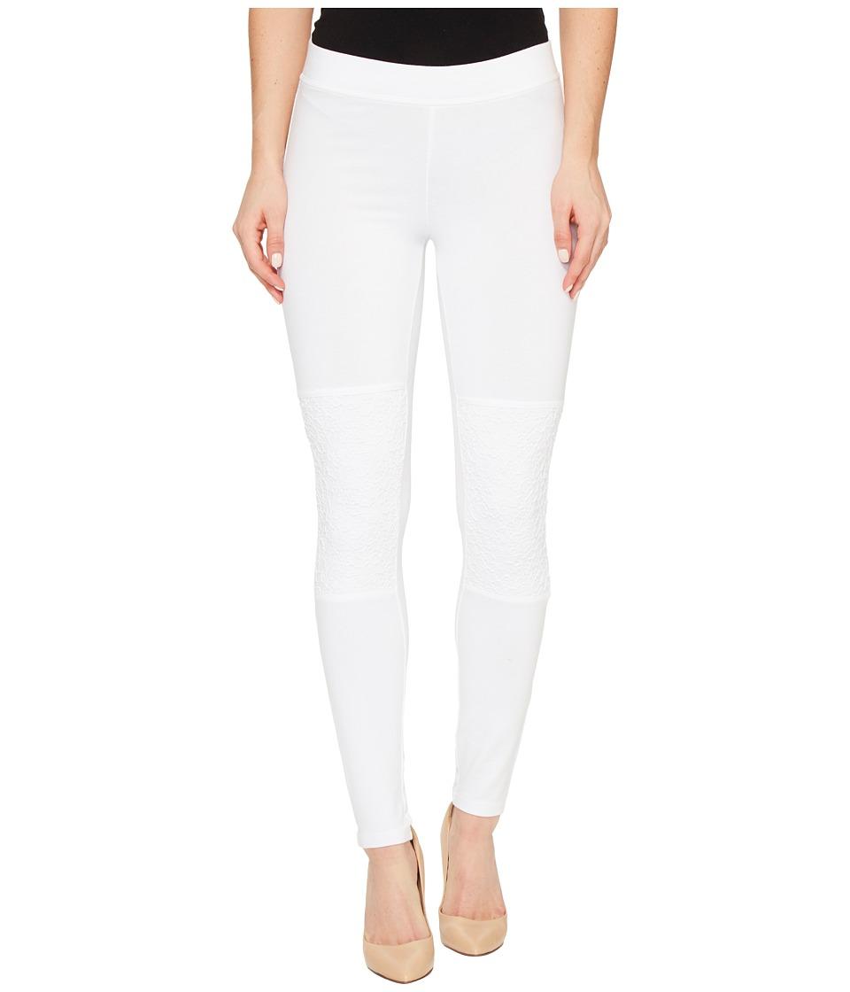 HUE - Lace Knee Cotton Leggings (White) Women's Casual Pants