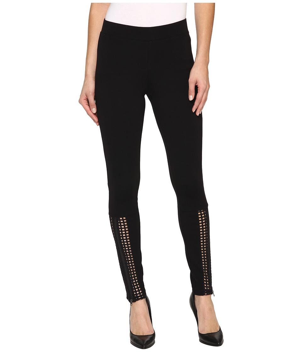 HUE - Laser Cut Panels Blackout Leggings (Black) Women's Casual Pants