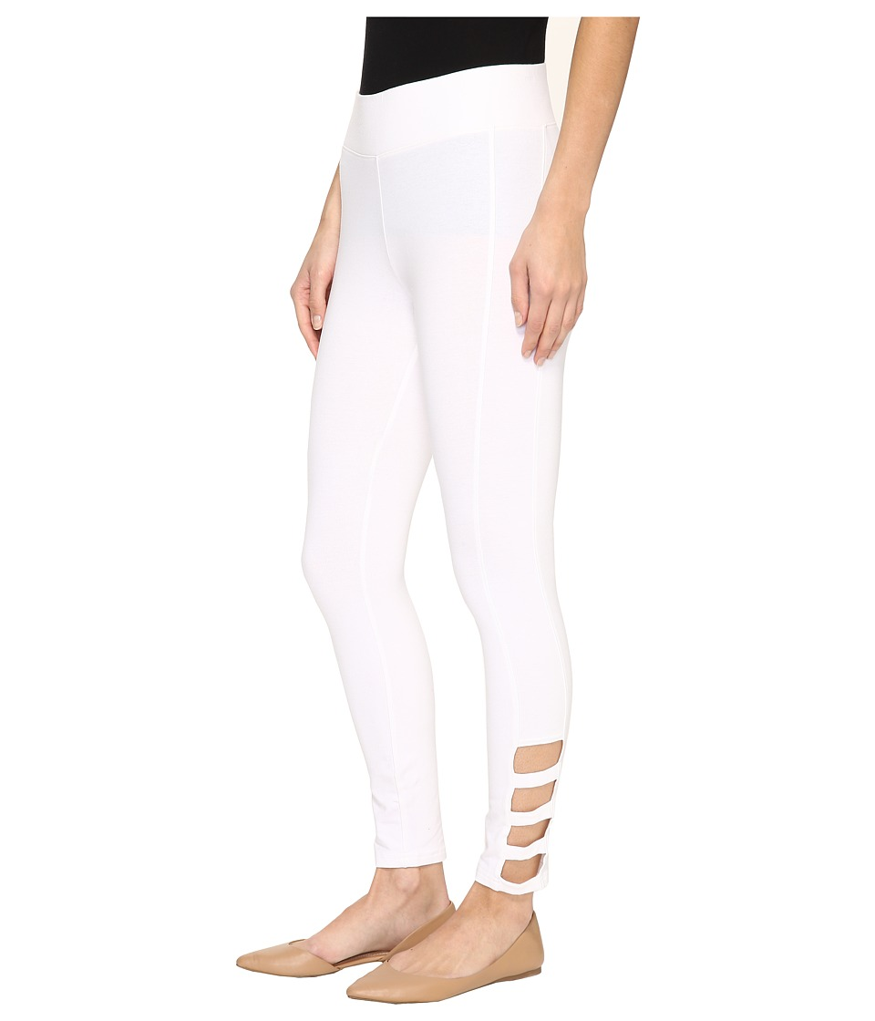 HUE - Ankle Detail Cotton Skimmer (White) Women's Casual Pants