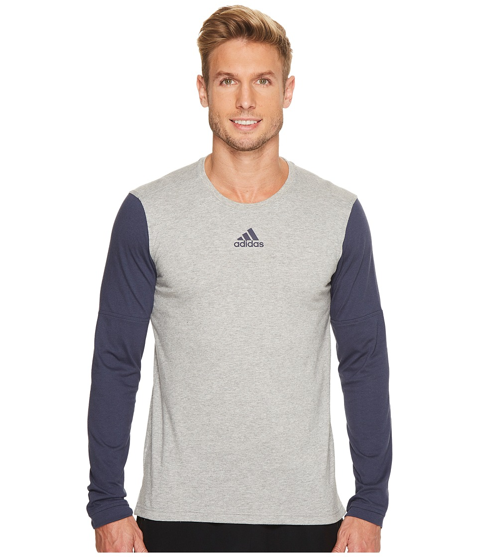 adidas Sport ID Long Sleeve Tee (Medium Grey Heather/Trace Blue F17/Trace Blue F17) Men