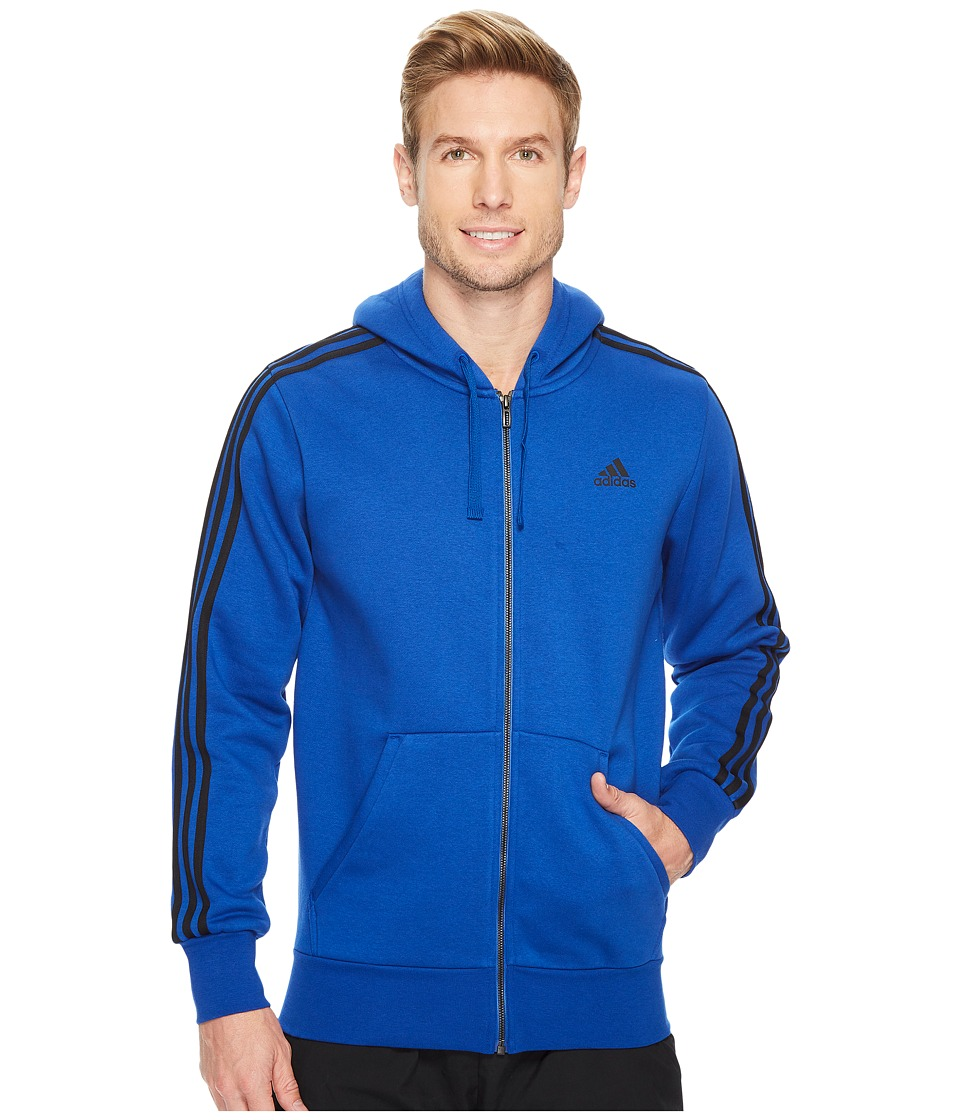 adidas - Essentials 3S Full Zip Brushed Fleece Hoodie (Collegiate Royal/Black) Men's Sweatshirt