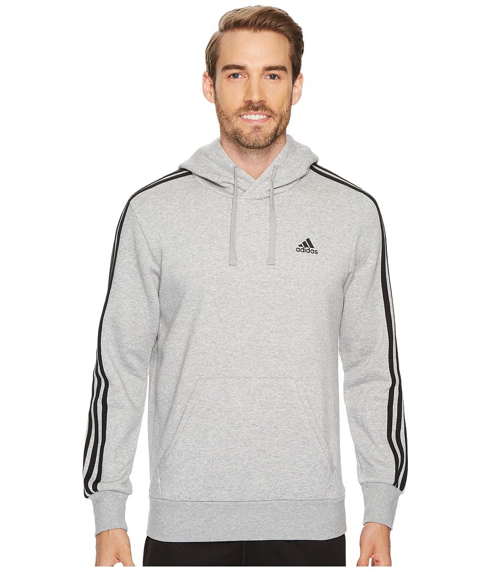 adidas - Essentials 3S Pullover Brushed Fleece Hoodie (Medium Grey Heather/Black) Men's Sweatshirt