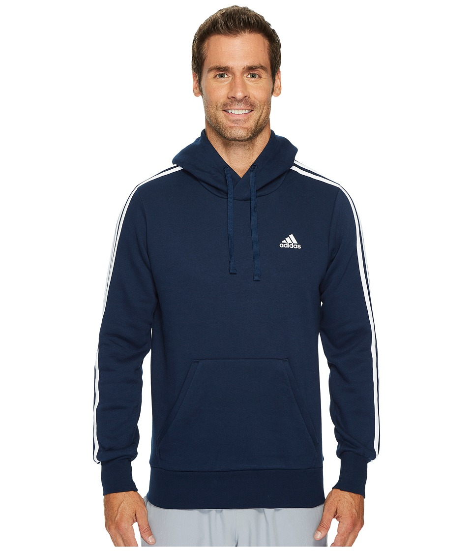 adidas - Essentials 3S Pullover Brushed Fleece Hoodie (Collegiate Navy/White) Men's Sweatshirt