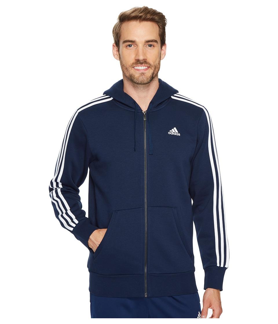 adidas - Essentials 3S Full Zip Brushed Fleece Hoodie (Collegiate Navy/White) Men's Sweatshirt