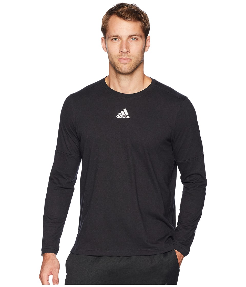 adidas - Sport ID Long Sleeve Tee (Black/Black/White) Men's T Shirt