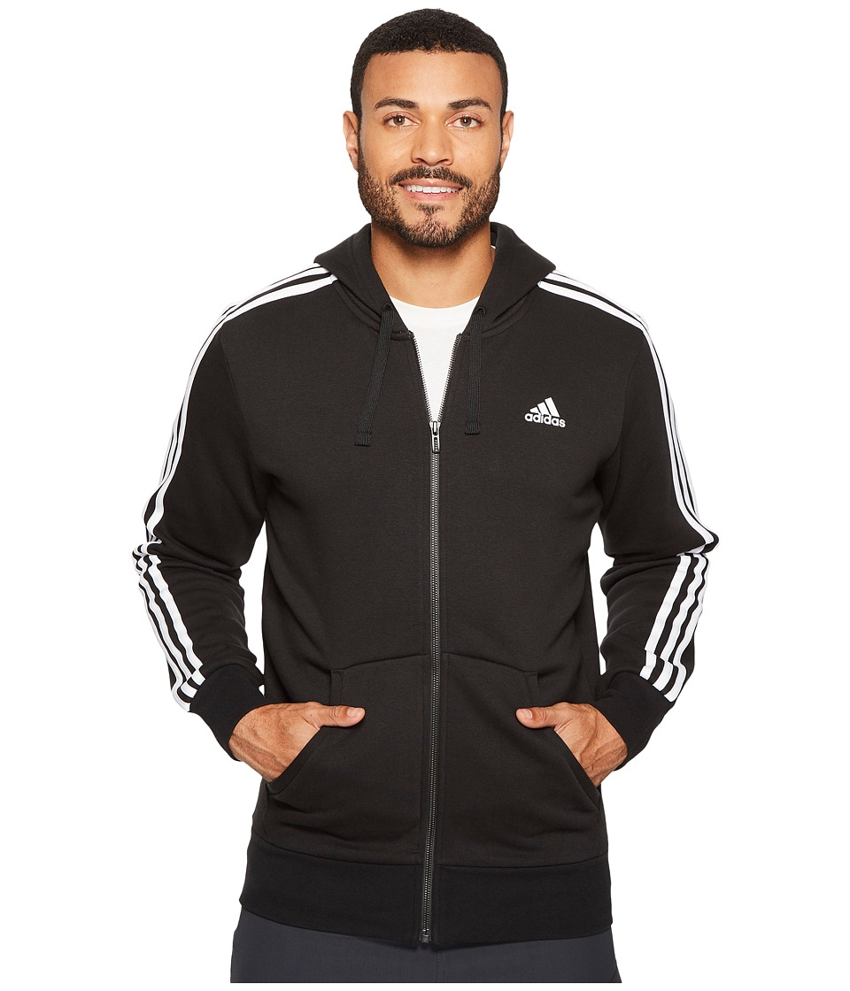 adidas - Essentials 3S Full Zip Brushed Fleece Hoodie (Black/White) Men's Sweatshirt