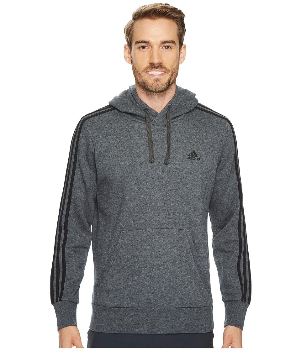 adidas - Essentials 3S Pullover Brushed Fleece Hoodie (Dark Grey Heather/Black) Men's Sweatshirt