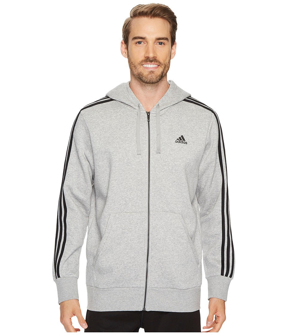 adidas - Essentials 3S Full Zip Brushed Fleece Hoodie (Medium Grey Heather/Black) Men's Sweatshirt