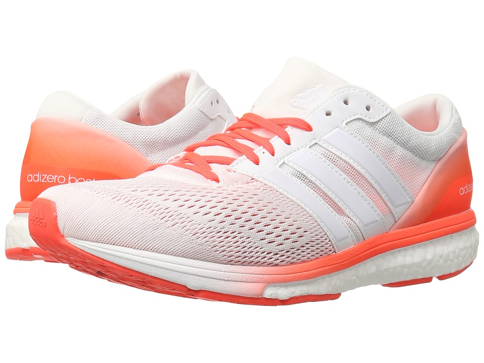 adidas - adiZero Boston 6 (White/White/Solar Red) Men's Shoes