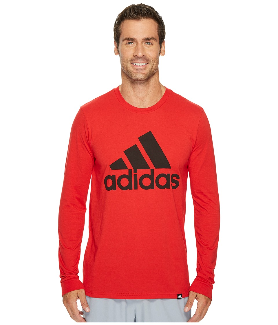 adidas - Badge of Sport Classic Long Sleeve Tee (Scarlet/Black) Men's T Shirt