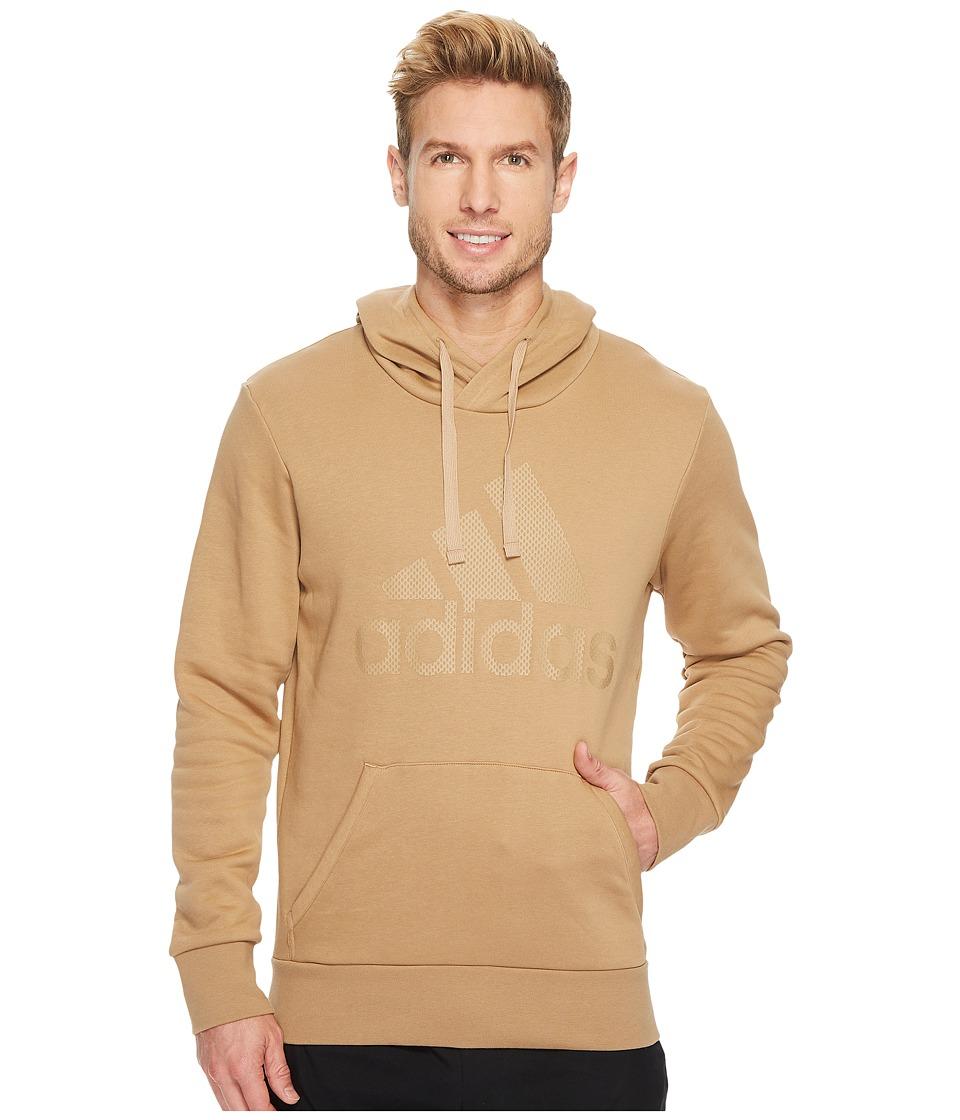 adidas - Essentials Cotton Pullover Logo Hoodie (Cardboard/Cardboard) Men's Sweatshirt