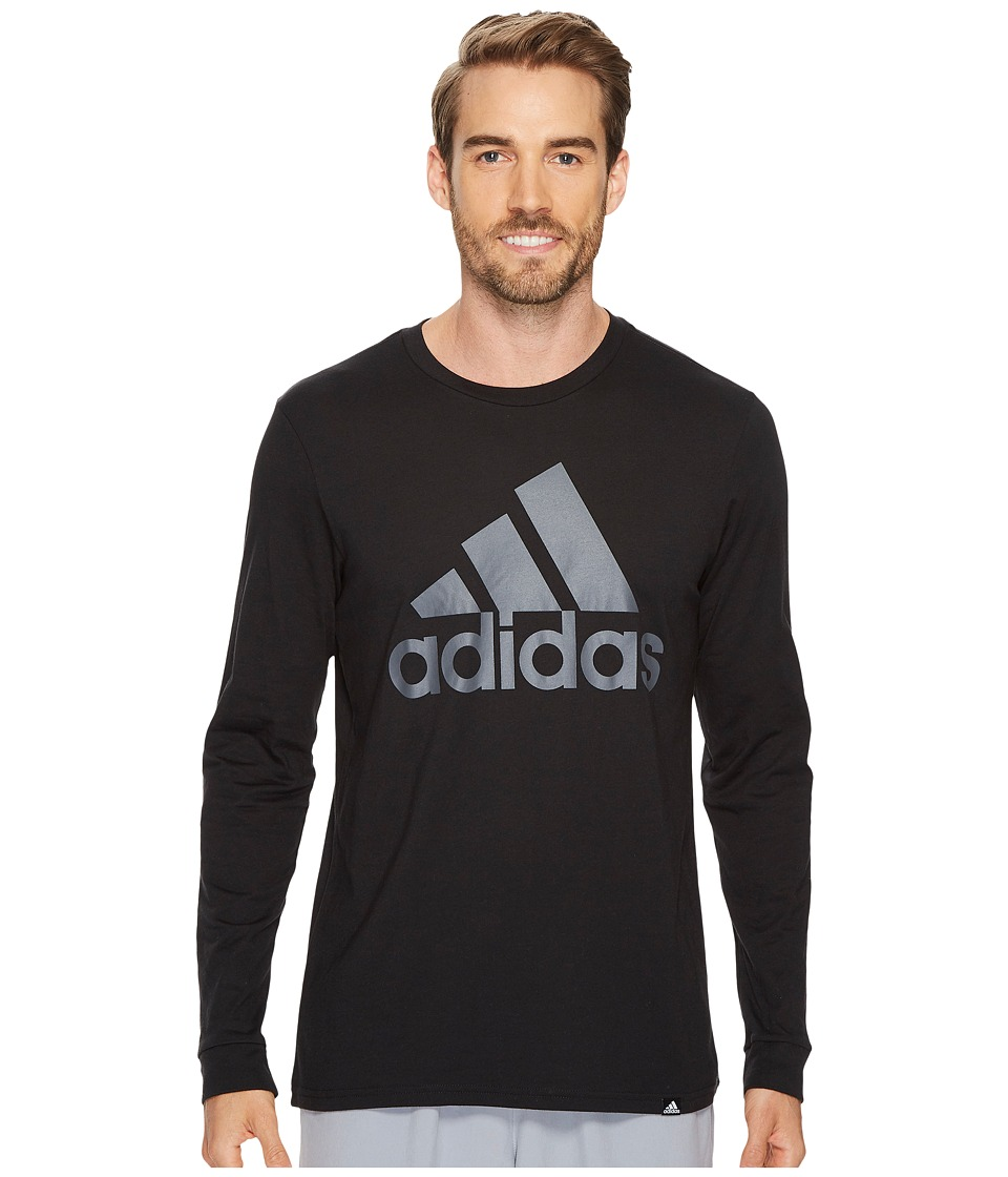 adidas - Badge of Sport Classic Long Sleeve Tee (Black/Grey Five F17) Men's T Shirt