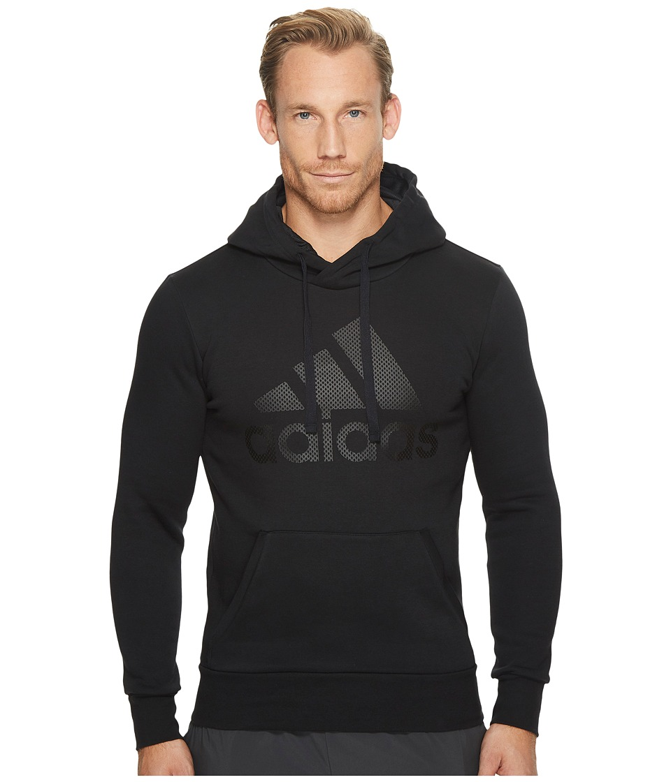 adidas - Essentials Cotton Pullover Logo Hoodie (Black/Black) Men's Sweatshirt