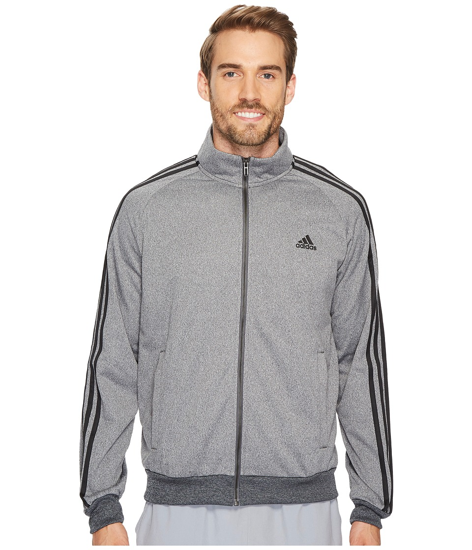 adidas - Essentials 3S Tricot Track Jacket (Dark Grey Heather Solid Grey/Black) Men's Coat