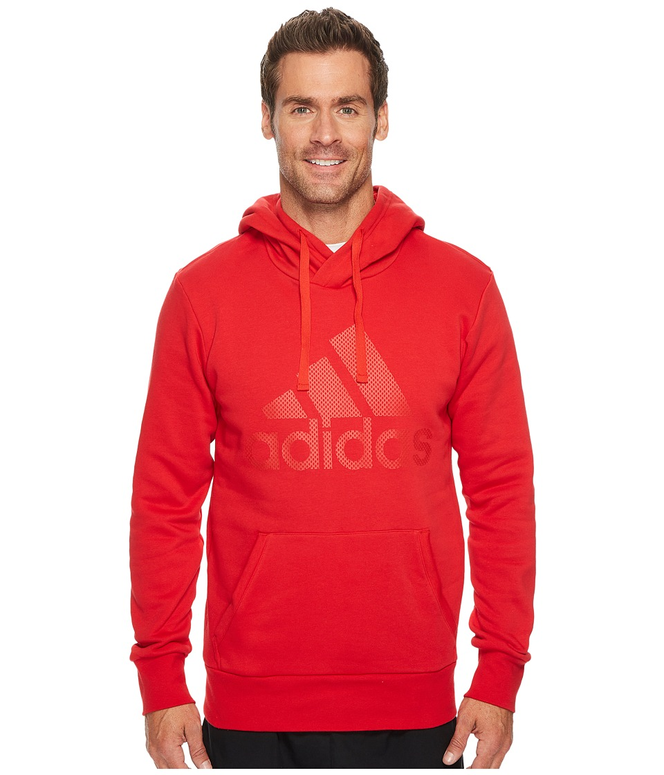 adidas - Essentials Cotton Pullover Logo Hoodie (Scarlet/Scarlet) Men's Sweatshirt