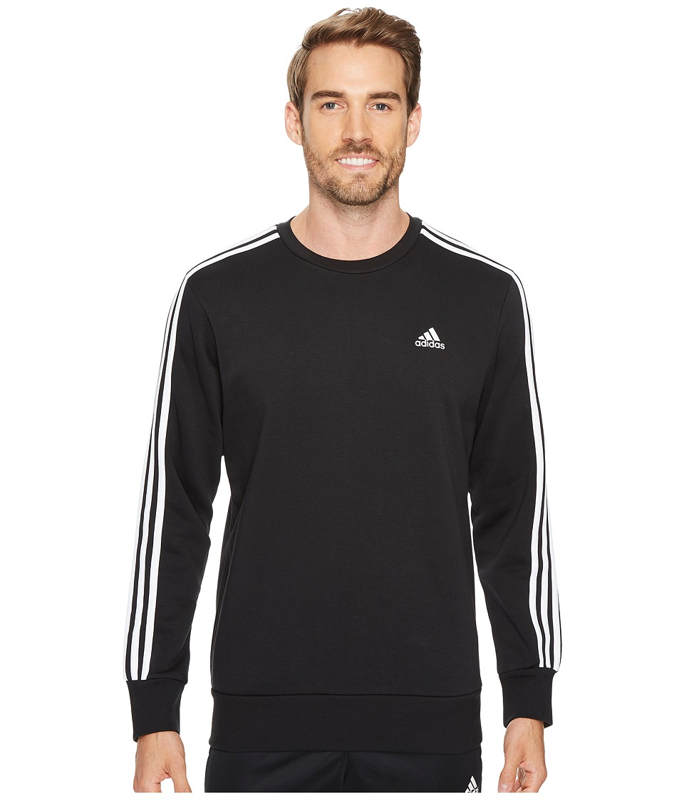 adidas - Essentials 3S Brushed Fleece Crew (Black/White) Men's Clothing