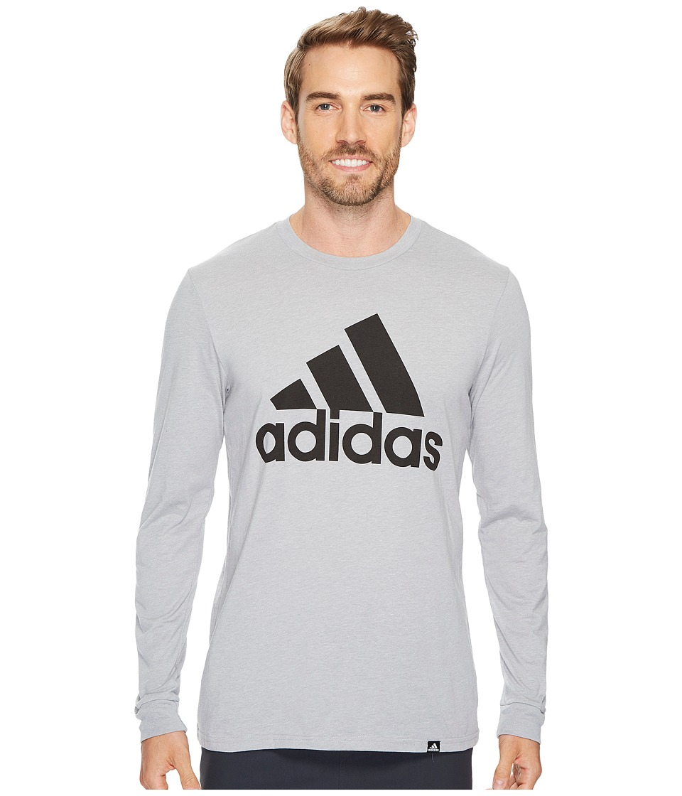 adidas - Badge of Sport Classic Long Sleeve Tee (Medium Grey Heather/Black) Men's T Shirt
