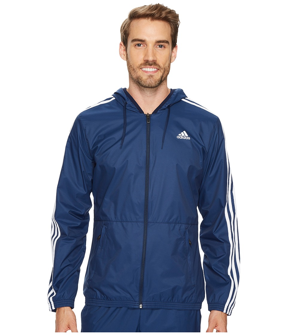 adidas - Essentials Wind Jacket (Collegiate Navy/Collegiate Navy/White) Men's Coat