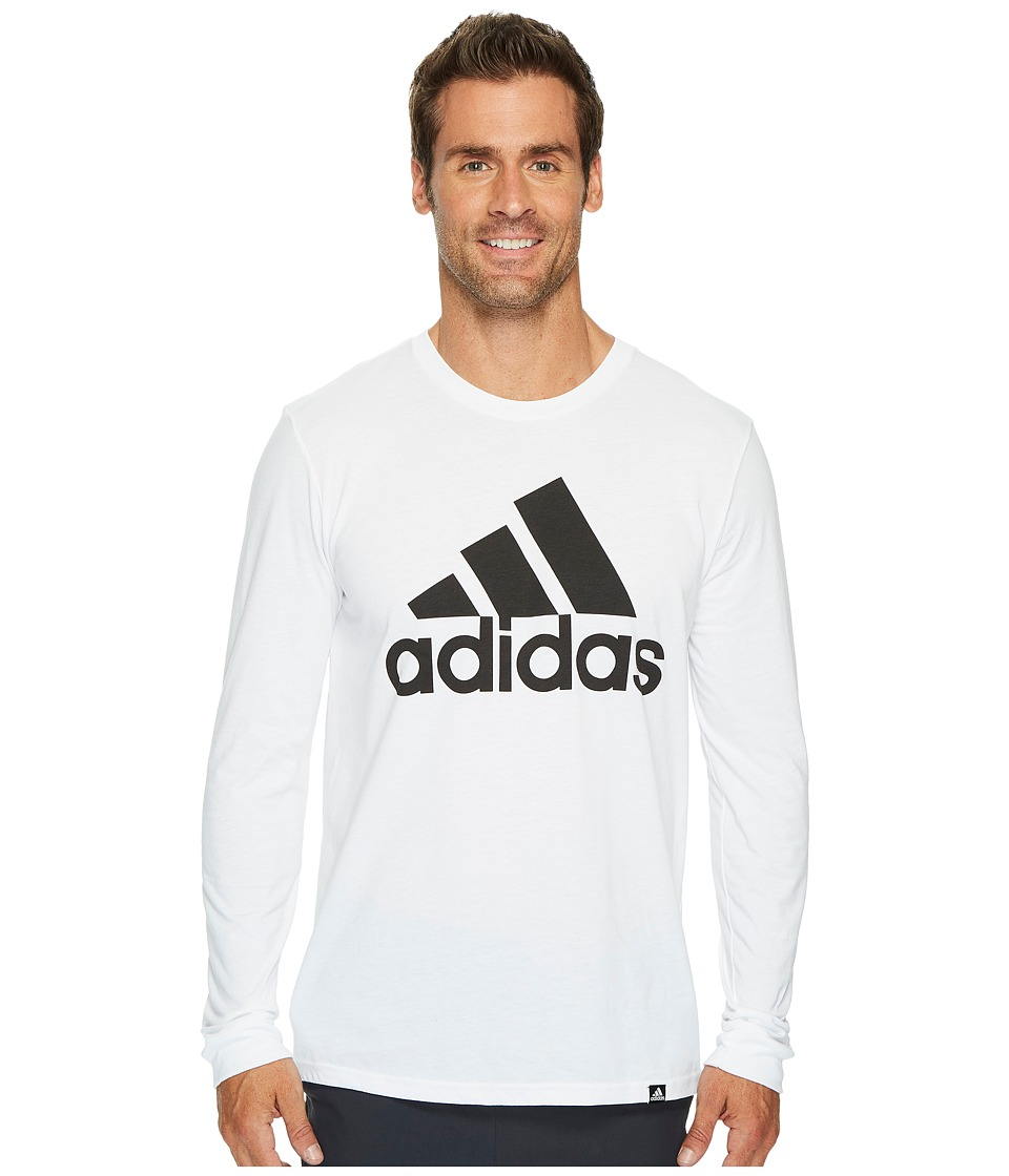 adidas - Badge of Sport Classic Long Sleeve Tee (White/Black) Men's T Shirt